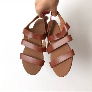 Strappy Tan Cognac Leather Sandals with Back Strap